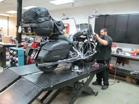 Joe servicing my Road King